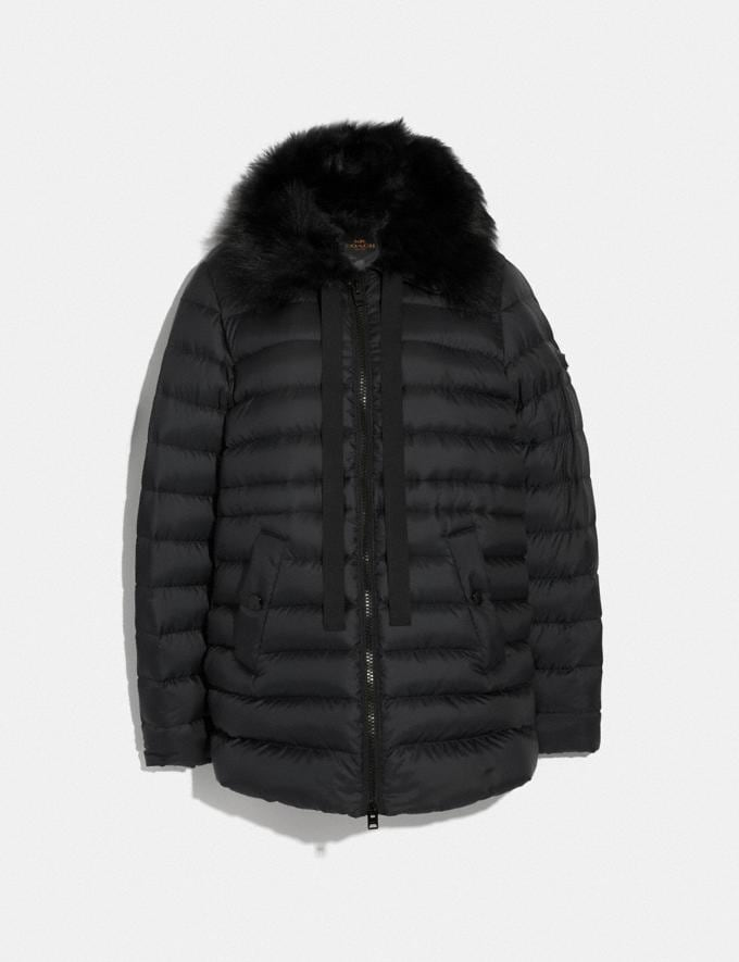 Coach Down Jacket With Shearling Collar Black