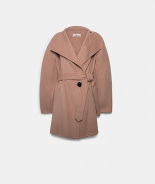 SHORT BELTED DOUBLE FACE WOOL COAT