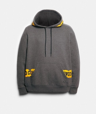 HOODIE WITH CAUTION TAPE GRAPHIC