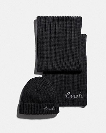 coach script knit scarf and hat set