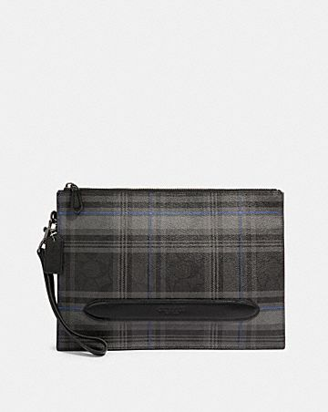 structured pouch in signature canvas with grace plaid print