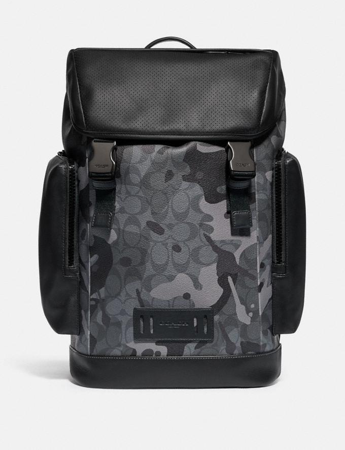 Coach Ranger Backpack in Signature Canvas With Camo Print Qb/Grey Multi Men Bags