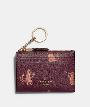 MINI SKINNY ID CASE WITH PARTY CAT PRINT