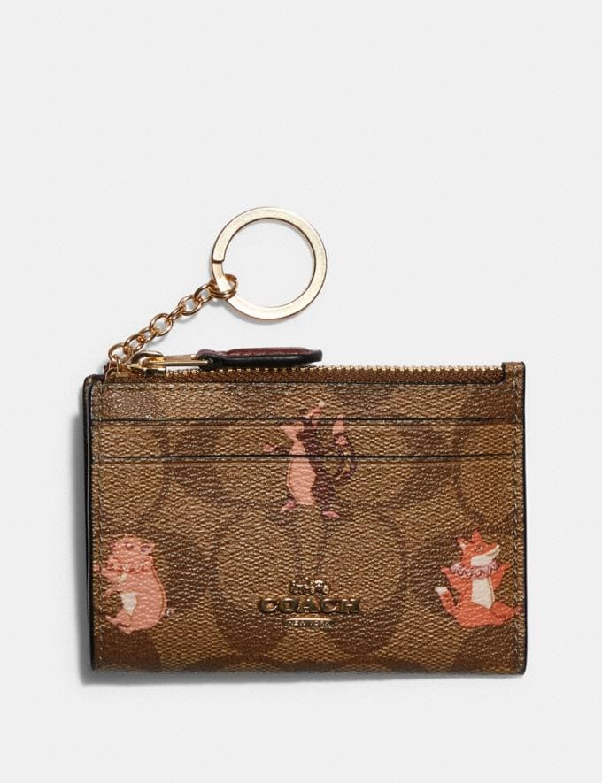 Coach Mini Skinny Id Case in Signature Canvas With Party Animals Print Im/Khaki Pink Multi Clearance Accessories