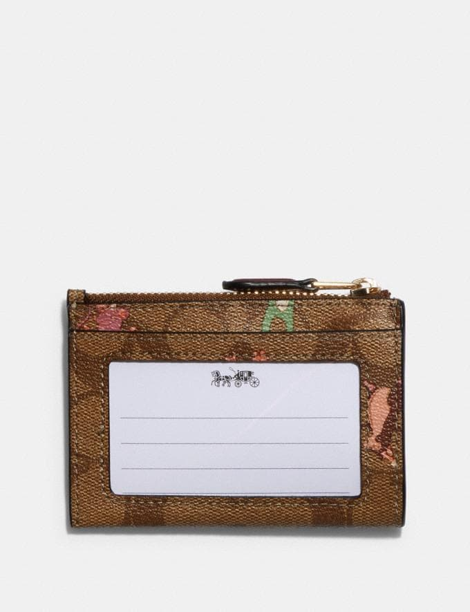 Coach Mini Skinny Id Case in Signature Canvas With Party Animals Print Im/Khaki Pink Multi Clearance Accessories Alternate View 1