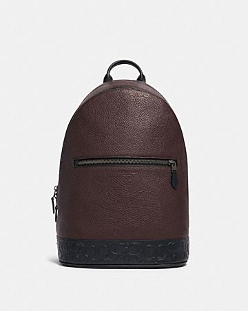west slim backpack with signature leather detail