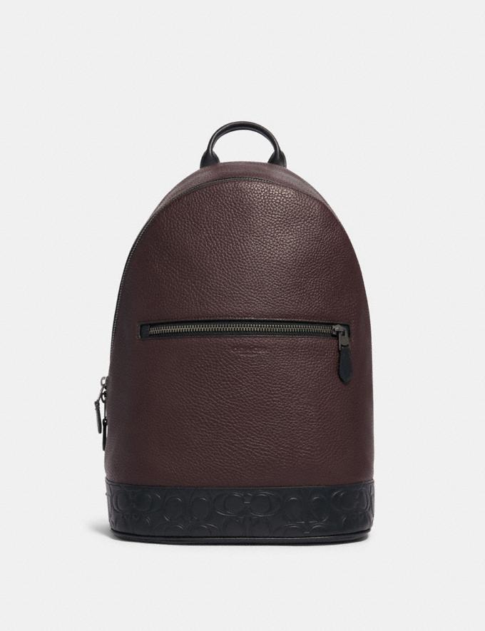 Coach West Slim Backpack With Signature Leather Detail Qb/Oxblood Multi Explore Men Explore Men Bags