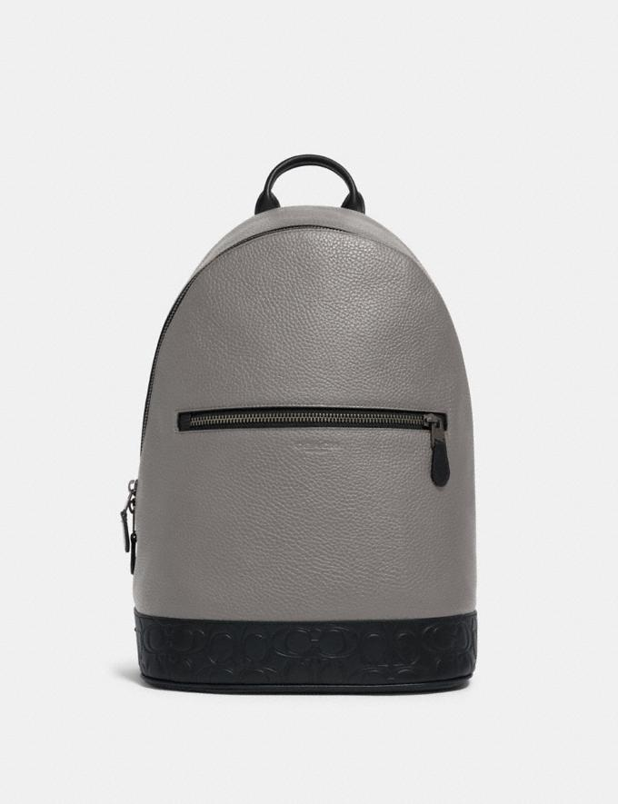 Coach West Slim Backpack With Signature Leather Detail Qb/Heather Grey Multi