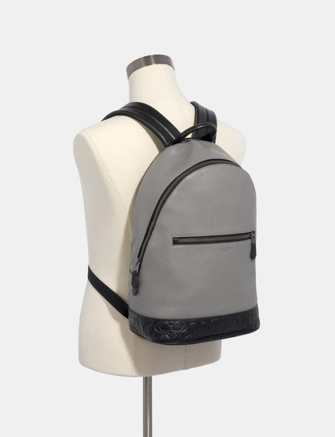 Coach West Slim Backpack With Signature Leather Detail Qb/Heather Grey Multi  Alternate View 2
