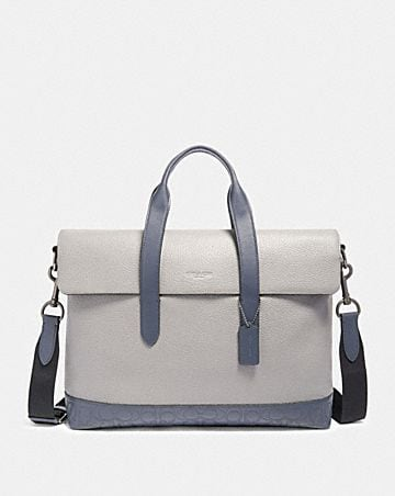 hamilton portfolio brief with signature leather detail