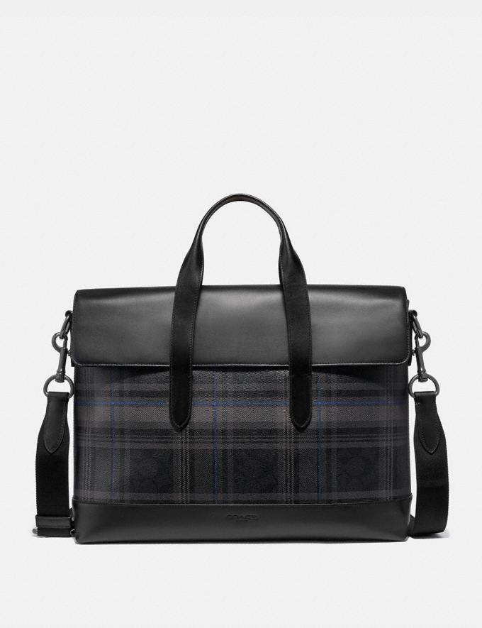 Coach Hamilton Portfolio Brief in Signature Canvas With Plaid Print Qb/Black Multi Men Bags