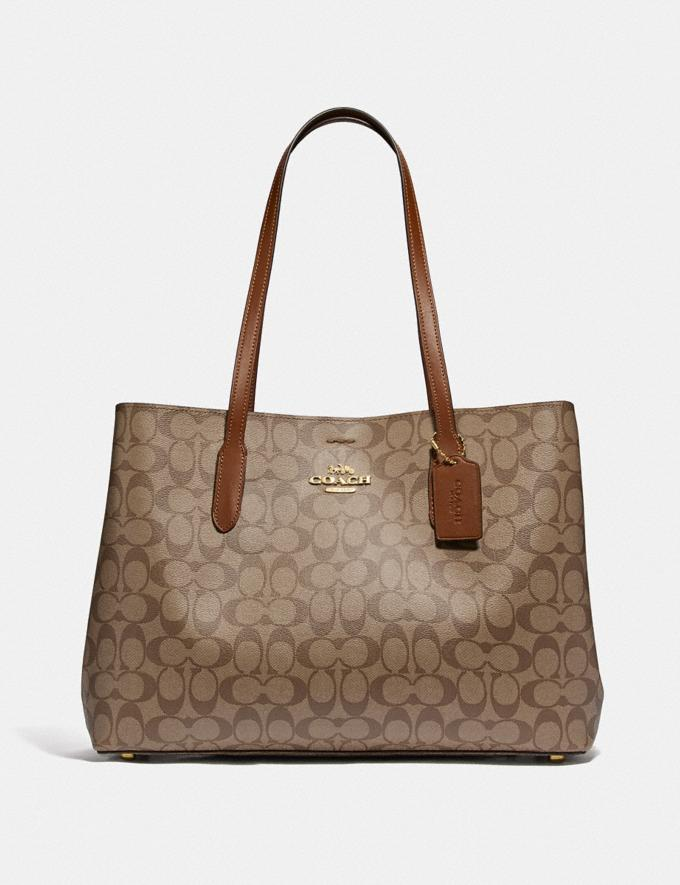 Coach Large Avenue Carryall in Signature Canvas Im/Khaki/Saddle 2 Women Business Essentials