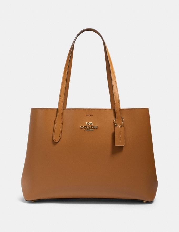 Coach Large Avenue Carryall Im/Light Saddle Black Women Business Essentials