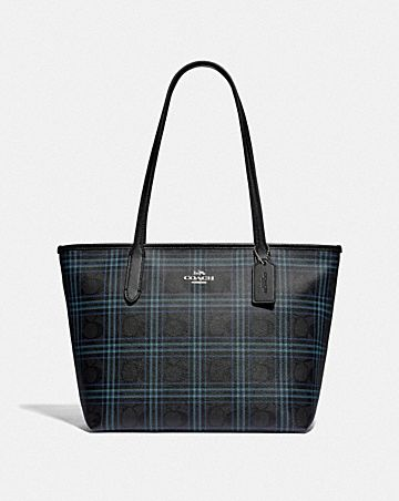 zip top tote in signature canvas with shirting plaid print