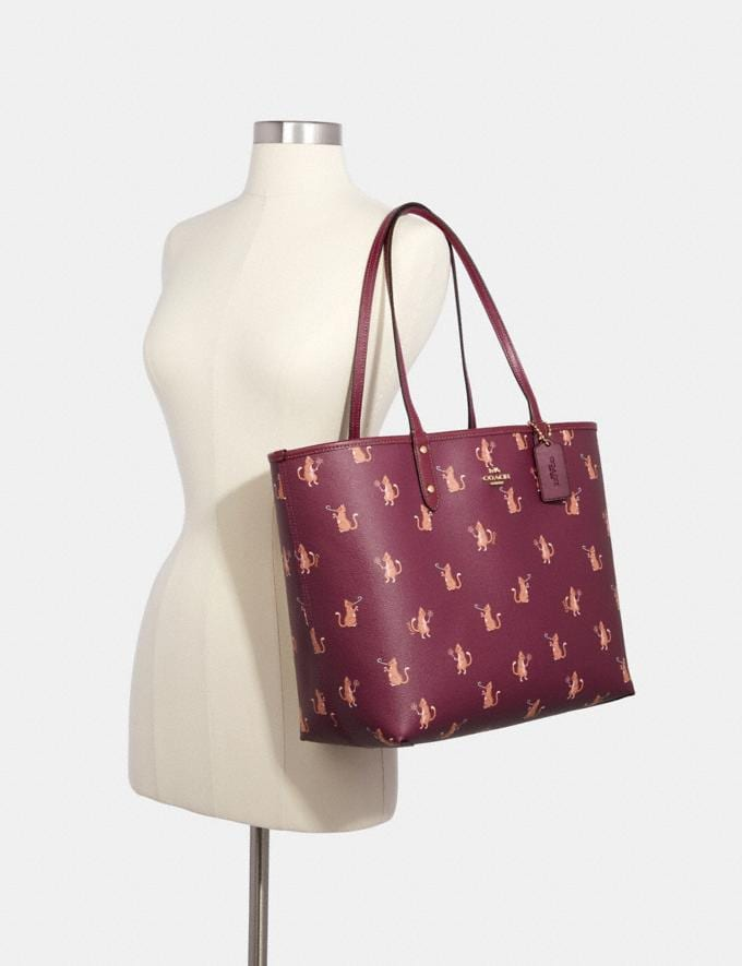 Coach Reversible City Tote With Party Cat Print Im/Dark Berry Multi/Dark Berry Clearance Handbags Alternate View 3
