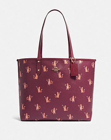 reversible city tote with party cat print