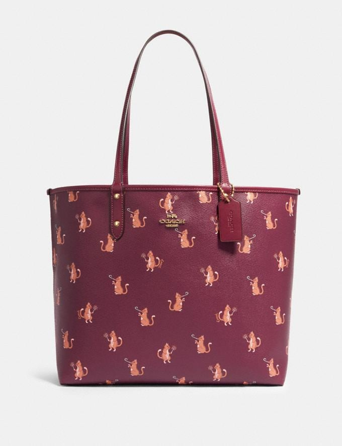 Coach Reversible City Tote With Party Cat Print Im/Dark Berry Multi/Dark Berry Clearance Handbags