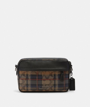 GRAHAM CROSSBODY IN SIGNATURE CANVAS WITH PLAID PRINT