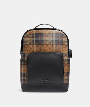 GRAHAM BACKPACK IN SIGNATURE CANVAS WITH PLAID PRINT