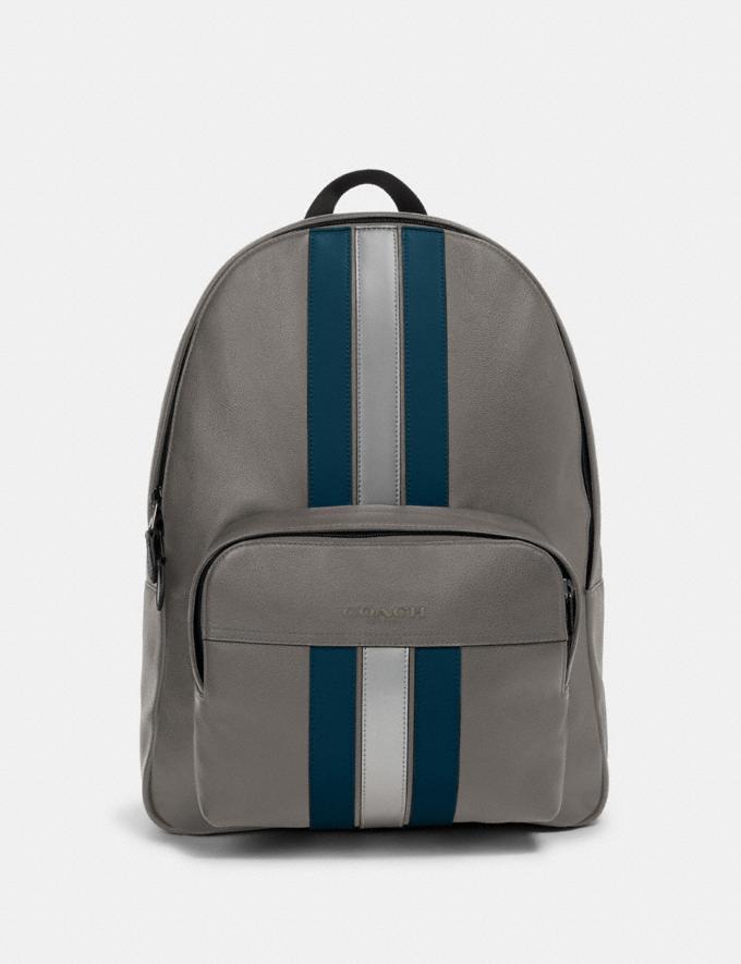 Coach Houston Backpack With Varsity Stripe Qb/Heather Grey/Aegean/Silver