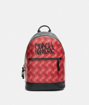 WEST SLIM BACKPACK WITH HORSE AND CARRIAGE PRINT
