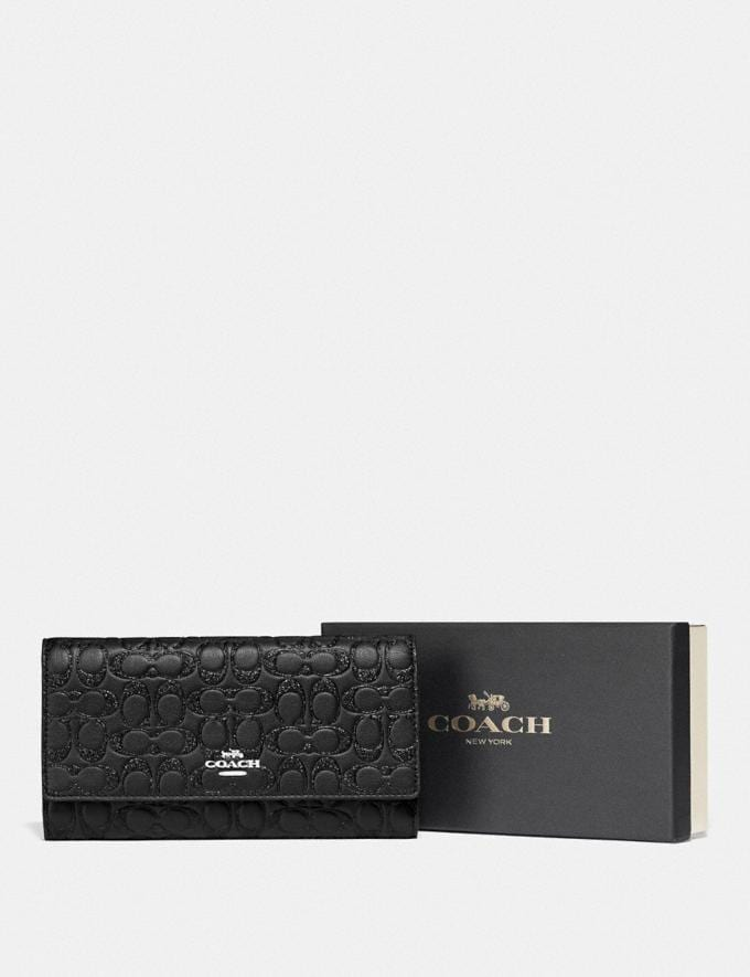 Coach Boxed Trifold Wallet in Signature Leather Sv/Black Explore Women Explore Women Wallets