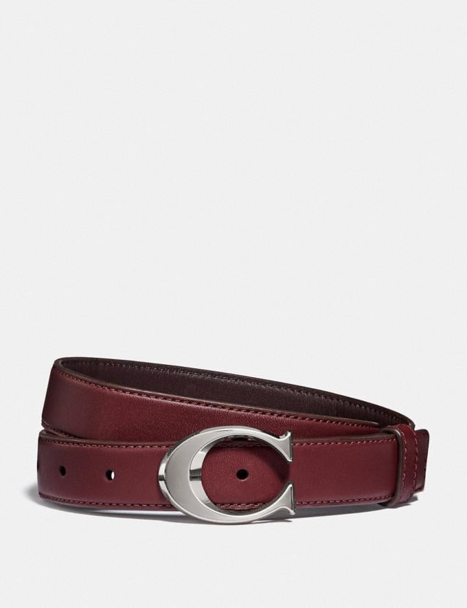 Coach Signature Buckle Belt, 25mm Sv/Wine Oxblood DEFAULT_CATEGORY