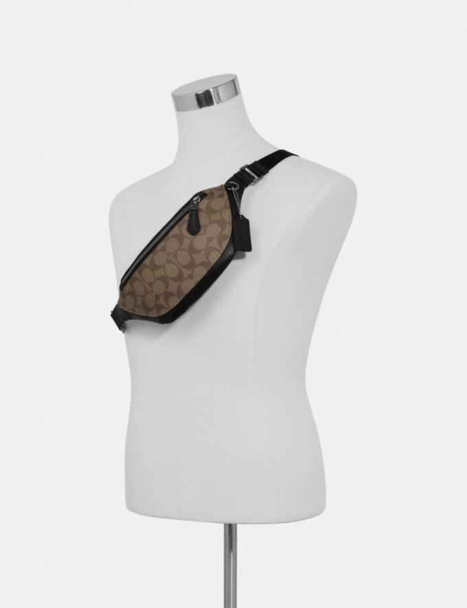 Coach Warren Mini Belt Bag in Signature Canvas Qb/Charcoal/Black Explore Men Explore Men Travel Alternate View 2