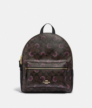 MEDIUM CHARLIE BACKPACK IN SIGNATURE CANVAS WITH MOON PRINT