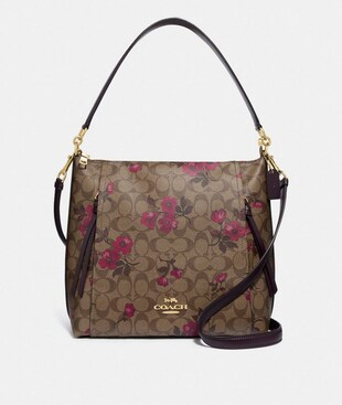 MARLON HOBO IN SIGNATURE CANVAS WITH VICTORIAN FLORAL PRINT