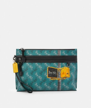 CARRYALL POUCH WITH HORSE AND CARRIAGE PRINT