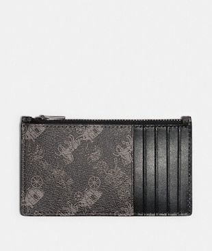 ZIP CARD CASE WITH HORSE AND CARRIAGE PRINT