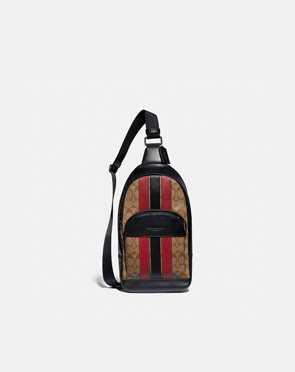 Coach HOUSTON PACK IN SIGNATURE CANVAS WITH VARSITY STRIPE