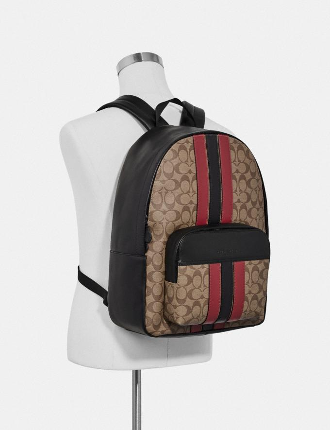 Coach Houston Backpack in Signature Canvas With Varsity Stripe Qb/Tan/Soft Red/Black Explore Men Explore Men Bags Alternate View 3