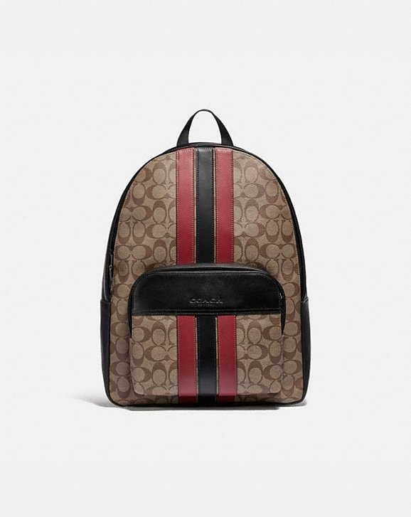 Coach HOUSTON BACKPACK IN SIGNATURE CANVAS WITH VARSITY STRIPE