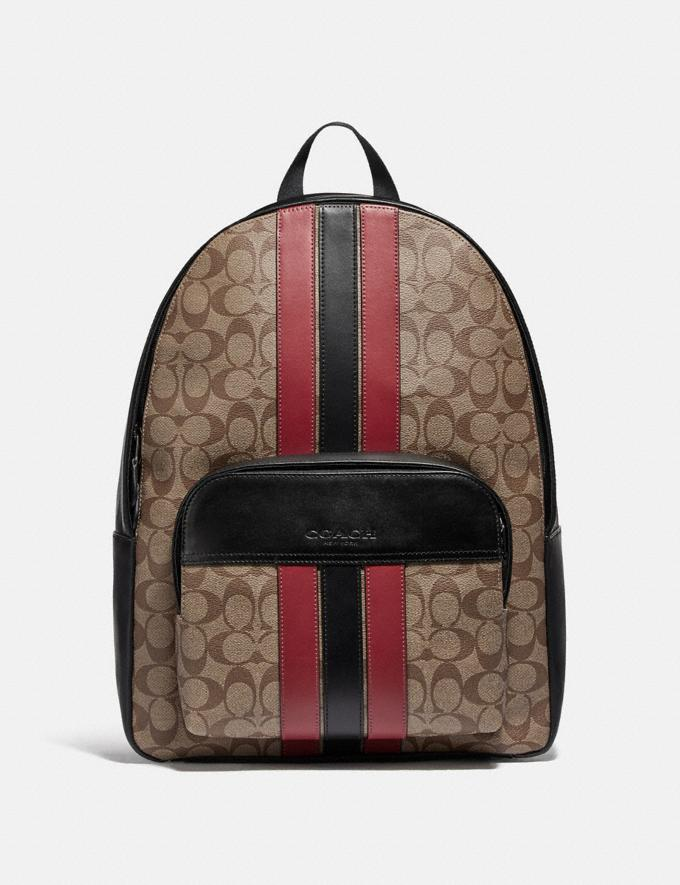 Coach Houston Backpack in Signature Canvas With Varsity Stripe Qb/Tan/Soft Red/Black Explore Men Explore Men Bags