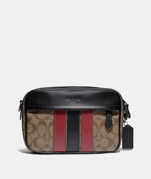 GRAHAM CROSSBODY IN SIGNATURE CANVAS WITH VARSITY STRIPE
