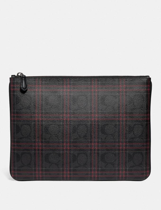 LARGE POUCH IN SIGNATURE CANVAS WITH SHIRTING PLAID PRINT