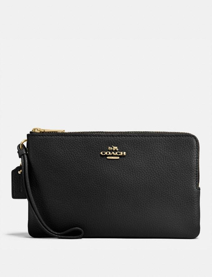 Coach Double Zip Wallet Black/Light Gold Explore Women Explore Women Wallets
