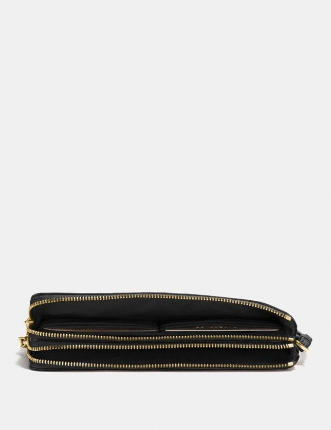 Coach Double Zip Wallet Black/Light Gold Explore Women Explore Women Wallets Alternate View 1