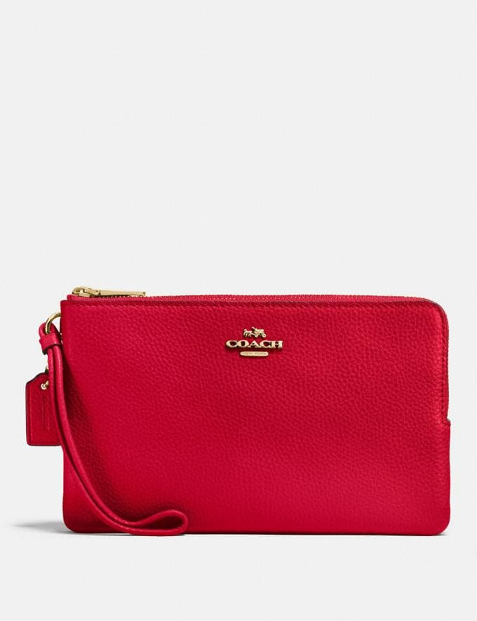 Coach Double Zip Wallet Im/Bright Red Explore Women Explore Women Wallets