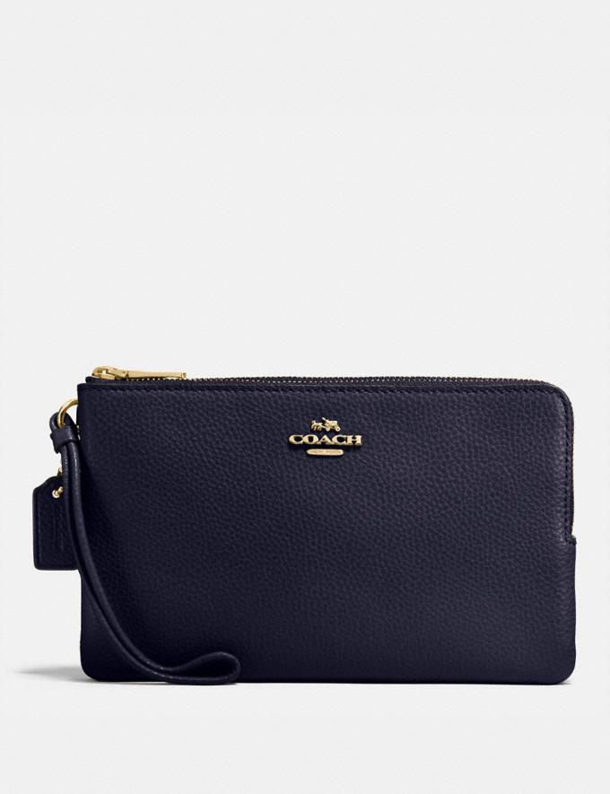 Coach Double Zip Wallet Midnight/Light Gold Explore Women Explore Women Wallets