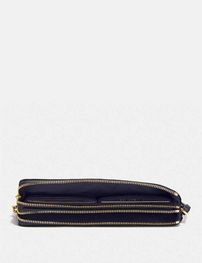 Coach Double Zip Wallet Midnight/Light Gold Explore Women Explore Women Wallets Alternate View 1