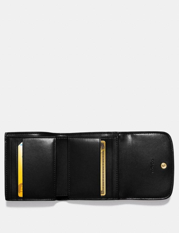 Coach Small Wallet in Signature Canvas Brown/Black/Light Gold Accessories Wallets Alternate View 1