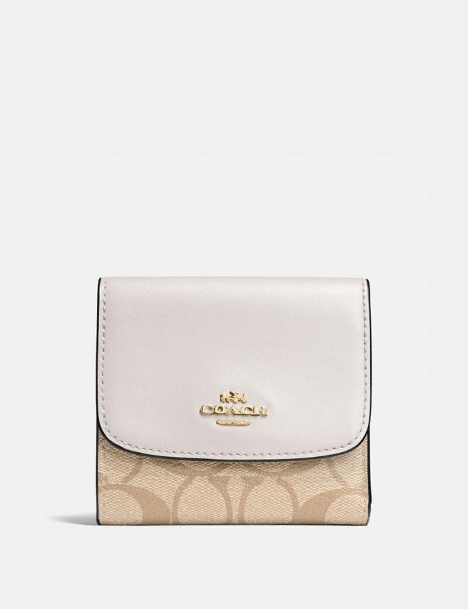 Coach Small Wallet in Signature Canvas Light Khaki/Chalk/Light Gold