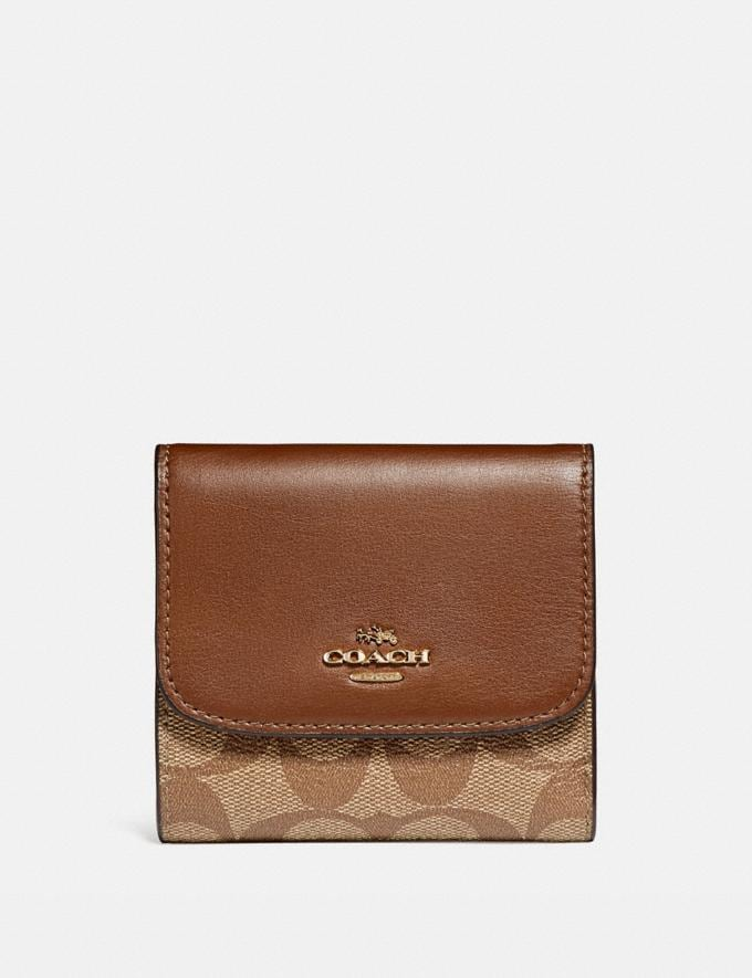 Coach Small Wallet in Signature Canvas Khaki/Saddle 2/Light Gold