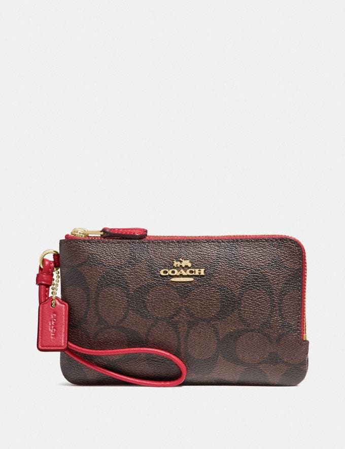 Coach Double Corner Zip Wristlet in Signature Canvas Brown/True Red/Light Gold Deals Extras Under $50