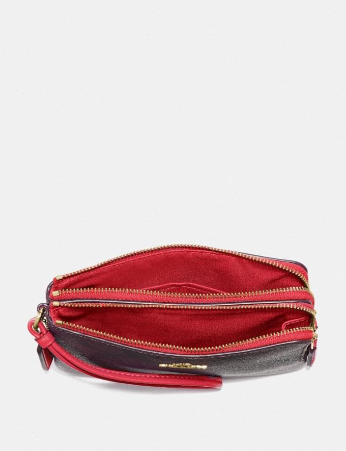 Coach Double Corner Zip Wristlet in Signature Canvas Brown/True Red/Light Gold Deals Extras Under $50 Alternate View 1