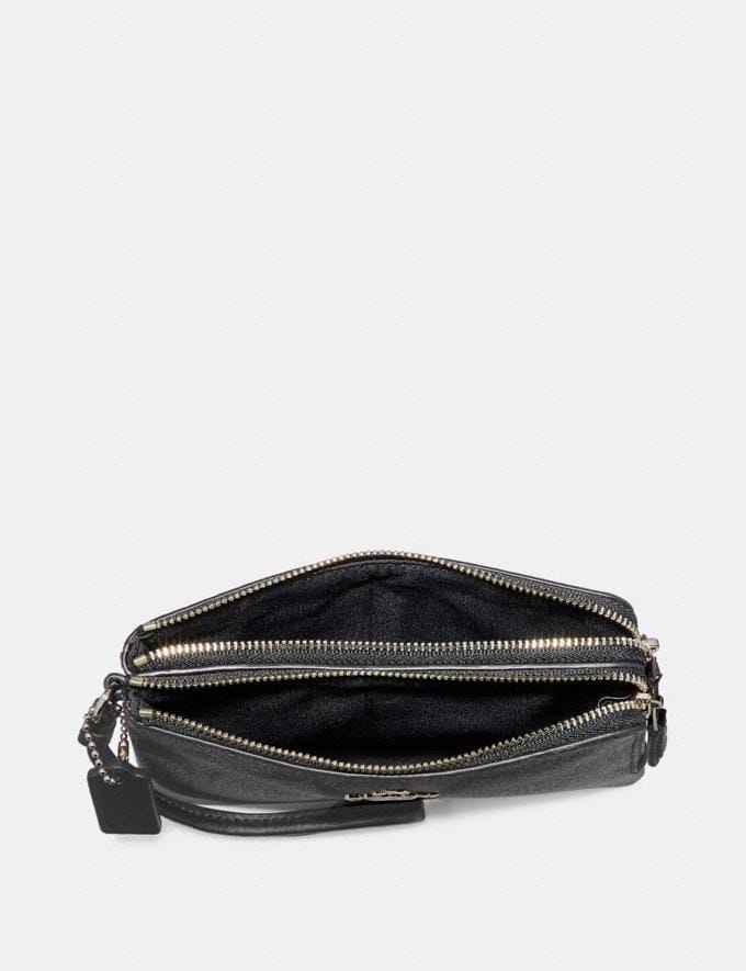 Coach Double Corner Zip Wristlet in Signature Canvas Black Smoke/Black/Silver  Alternate View 1