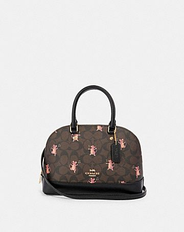 mini sierra satchel in signature canvas with party mouse print
